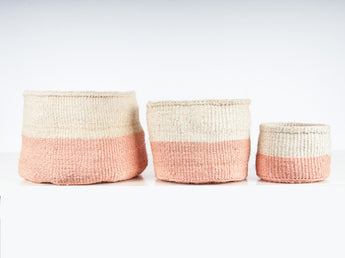 Jioni Color Block Pink Woven African Basket - Set of 3