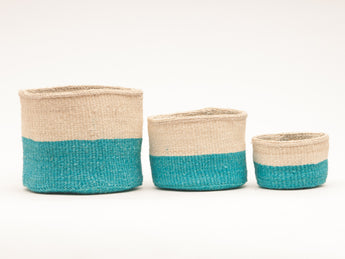 Lazima - Turquoise Woven African Basket - Set of 3