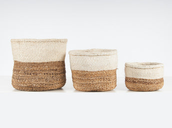 Ndizi Color Block Natural Woven Basket Set of 3