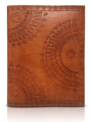 Embossed Refillable Leather Journal (Tumy Caramel)