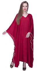 Caftan Sleepwear Dress Pajama Handmade Crochet Egyptian Cotton Home Clothing (Rose)