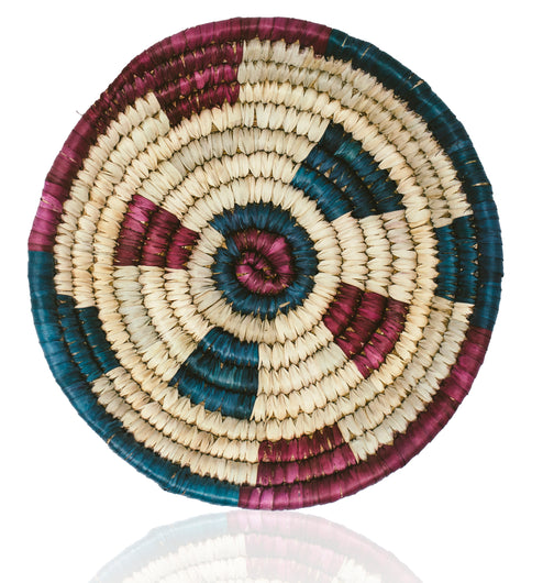 Round Hand Woven Basket Bowl African Handmade Palm Leaf Sustainable Wall Hanging Boho Décor
