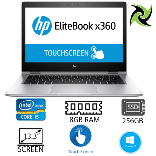 "Hp Elite book X360 1030 G2 Ex-Lease I5-7300u 2.60GHz 8GB RAM 256GB SSD 13"" Webcam Win 10 Home"