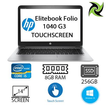 EliteBook Folio 1040 G3 Ex lease Laptop i5-6300U 2.40GHz 8GB RAM 256GB SSD  14