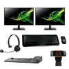"2 X Brand New Acer EK241Y 24"" FHD 4ms 75Hz IPS Monitor + HP Ultra Slim Docking Station + New MS Wireless Keyboard and Mouse+ Headset and Webcam"