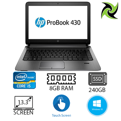 HP ProBook 430 G3 Ex Lease Laptop Intel Core i5 6200U 2.3GHz Turbo Boost 2.8GHz 8GB RAM DDR4  240GB SSD New! 13 Inch TouchScreen WebCam Windows 10 Home  HDMi Port - PC Traders New Zealand