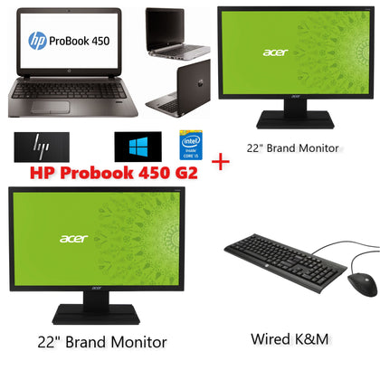 HP OFFICE COMBO!!! HP ELitebook 450 G2 i5 + 2X 22inch FULL HD MONITOR (all cables will provided)