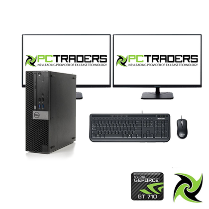 Dual Screen Gaming Bundle - Dell OptiPlex 7040 Ex Lease SFF Desktop i5-6th Gen 3.2GHz 8GB RAM 512GB SSD NVIDIA GT 710 2GB CARD Win 10 HOME + 2 x 22inch Brand monitor + Keyboard and mouse (All required cable will be provided) - PC Traders New Zealand