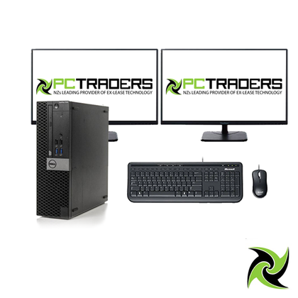 System Bundle - Dell OptiPlex 7040 Ex Lease SFF Desktop i5-6500 3.3GHz 8GB RAM 480GB SSD Windows 10 Home, Includes: 2 x 22inch Brand monitor, Wired Keyboard and mouse (All required cable will be provided) System Bundle - PC Traders New Zealand