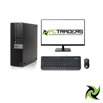 System Bundle - Dell OptiPlex 7040 Ex Lease SFF Desktop i7-6700 3.4GHz 16GB RAM 256GB SSD Windows 10 Pro + 24inch Brand monitor + Keyboard and mouse (All required cable will be provided) System Bundle - PC Traders New Zealand