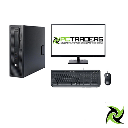 Single Screen Office Setup - HP EliteDesk 800 G2 Ex Lease PC i5-6500 3.2GHz 8GB RAM 240GB SSD Windows 10 Pro, Includes: 24