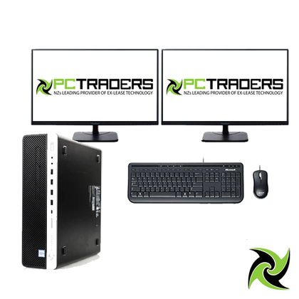 Dual Screen Setup!! HP Elitedesk 800 G4 Ex-Lease SFF intel I5-8500 3.00Ghz 8GB RAM 256GB SSD DVD Win 10 Pro, Includes: 2 x P244 Slim Monitors, Wired Keyboard and mouse Desktop - PC Traders New Zealand