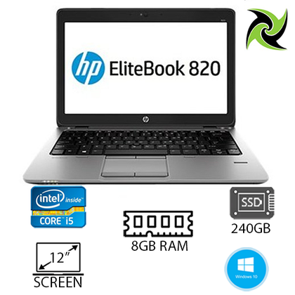 HP EliteBook 820 G1 Ex Lease Laptop i5-4300U 1.9GHz 8GB RAM 240GB SSD 12