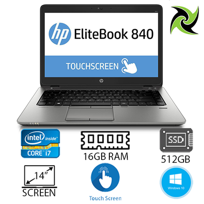 HP Elitebook 840 G2 Ex Lease Touch Screen Laptop i7-5600U 2.60GHz (Turbo boost  3.2Ghz) 16GB RAM 512GB SSD HD Graphics 5500 No ODD 14