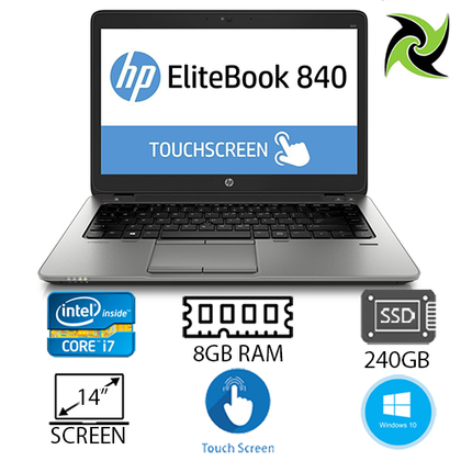 HP Elitebook 840 G2 Ex Lease Touch Screen Laptop i7-5600U 2.60GHz (Turbo boost  3.2Ghz) 8GB RAM 240GB SSD HD Graphics 5500 14
