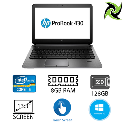 HP ProBook 430 G3 Ex Lease Laptop Intel Core i5 6200U 2.3GHz 8GB RAM DDR4 128GB SSD 13 Inch TouchScreen WebCam Windows 10 Home - PC Traders New Zealand