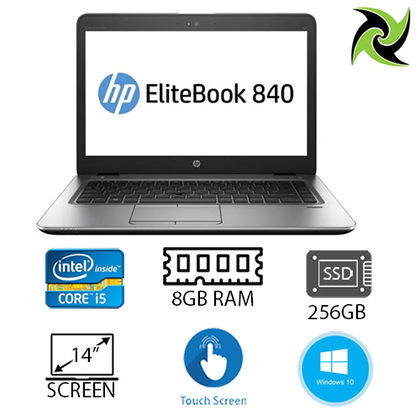 HP Elitebook 840 G3 Ex Lease Laptop i5-6300U 2.4GHz 8GB RAM 256GB SSD 14