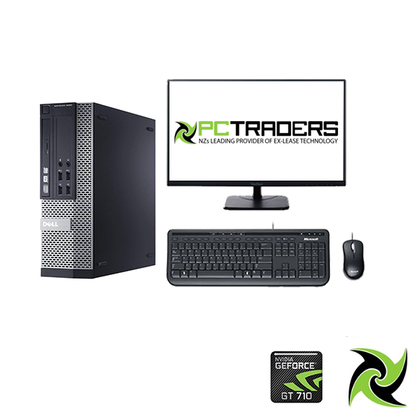 Limited Combo Setup- Dell OptiPlex 9020 Ex Lease SFF Desktop i7-4790 3.6GHz 8GB RAM 512GB SSD DVDRW with Nvidia GT 710 2GB Graphics Card Windows 10 Home, includes: 24