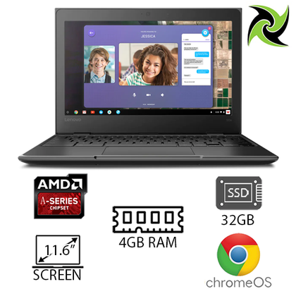 New Lenovo EDU 100E Chromebook 2nd Gen AMD A-4 4GB Ram 11.6