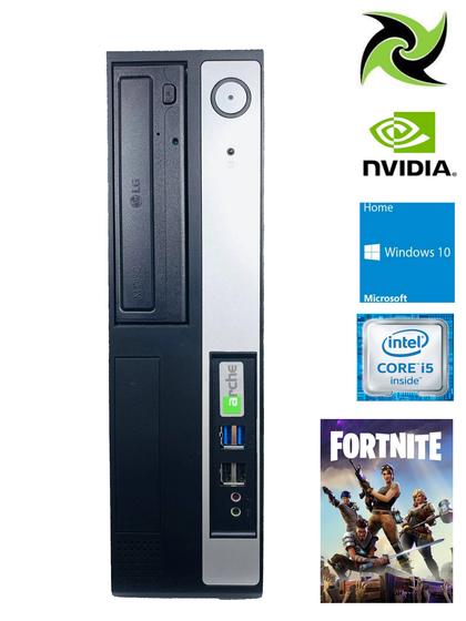 Custom Built Ex-lease SFF Fortnite PC i5-6400 2.7Ghz 8GB DDR4 RAM 120GB SSD DVD-R Windows 10 Home With Wifi Network Nvidia GT 710 2GB Graphics Card - PC Traders New Zealand