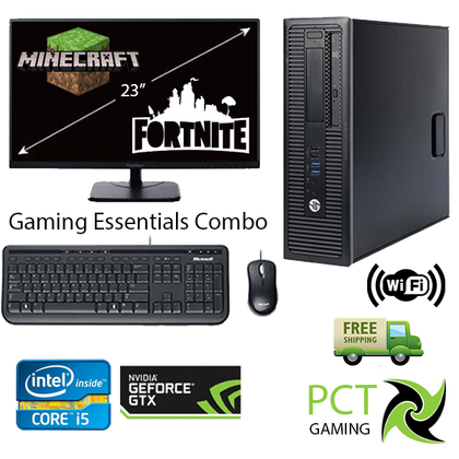 Gaming Essential Combo !! HP EliteDesk 800 G1 SFF Ex Lease Desktop i5 4th Gen 8GB RAM 1TB HDD Windows 10 Home Includes : 23