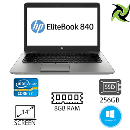 HP Elitebook 840 G2 Ex Lease Laptop i7-5600U 2.60GHz (Turbo boost  3.2Ghz) 8GB RAM 240GB SSD HD Graphics 5500 14