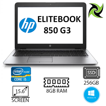 B Grade - HP EliteBook 850 G3 Ex Lease Laptop i5-6300U 2.4GHZ Turbo 3.6GHz 8GB RAM 256GB SSD 15.6