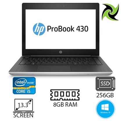 HP ProBook 430 G5 Ex Lease Laptop Intel Core i5 8250U 1.6GHz 8GB RAM 256GB SSD 13 Inch Screen UHD GRAPHICS 620 WebCam Windows 10 PRO - PC Traders New Zealand