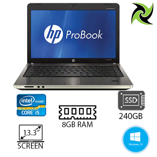 "HP PROBOOK 4330S EX-LEASE I3-2310M 2.10GHz 8GB DDR3 240GB SSD DVD-R 13"" WEBCAM WIN 10 PRO"