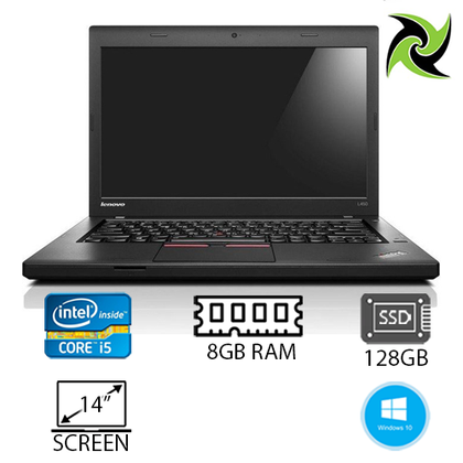 LENOVO L450 Ex-lease Laptop intel i5-5300U 2.3Ghz 8GB RAM 128GB SSD 14