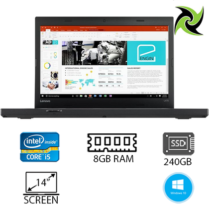 LENOVO L470 Ex-lease Laptop intel i5-6200U 2.30Ghz 8GB RAM 240GB SSD 14