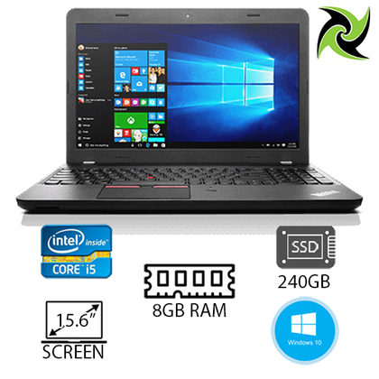B Grade Lenovo ThinkPad E570 Ex-lease Laptop i5-7200U 2.5Ghz 8GB RAM 240GB SSD 15.6