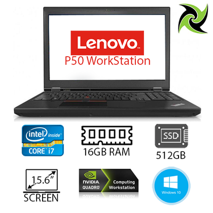 Lenovo P50 Ex-Lease Laptop Workstation Intel Core i7 6th Gen 16GB RAM 512GB SSD Nvidia M1000M 2GB Graphics Card 15.6