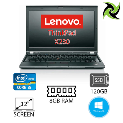 B Grade - Lenovo ThinkPad X230 Ex Lease Laptop i5-3320M 2.60GHz 8GB RAM 120GB SSD 12