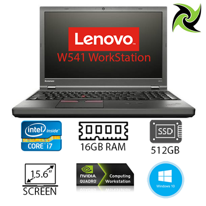 Lenovo W541 Ex-Lease Laptop Workstation IntelCore i7 4th Gen 16GB RAM 512GB SSD Nvidia K1100M 2GB Graphics Card 15.6