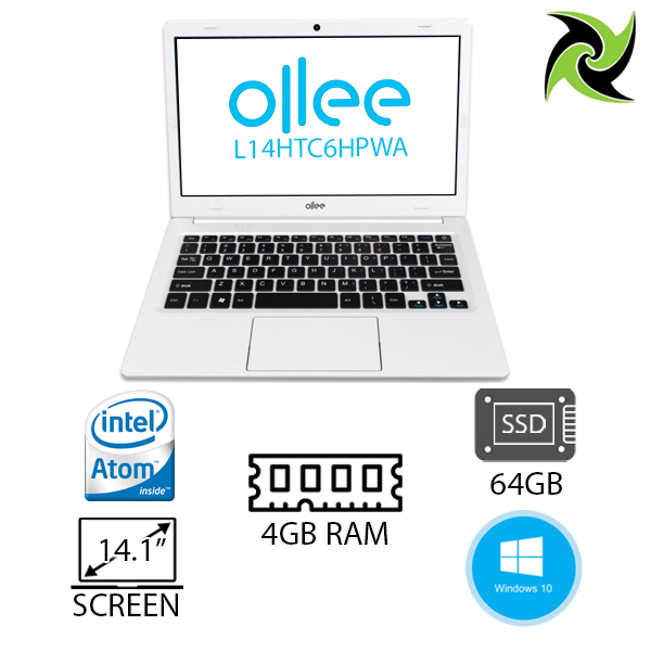 "Ollee Laptop Brand New!! Intel Celeron N3350 2.4Ghz 4GB RAM 64GB SSD 14.1"" 1366x768 Windows 10 Home"