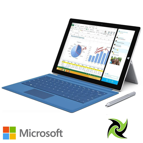 "MICROSOFT SURFACE PRO 3  i5-4300U 1.90GHz  4GB 128GB SSD  12"" 2K Res Screen WEBCAM W10PRO Keyboard Cover & Pen Included!"
