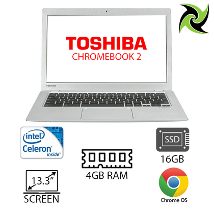 Toshiba Ex-Lease Chromebook 2 Intel Celeron 2.6GHz 4GB RAM 16GB SSD 13.3