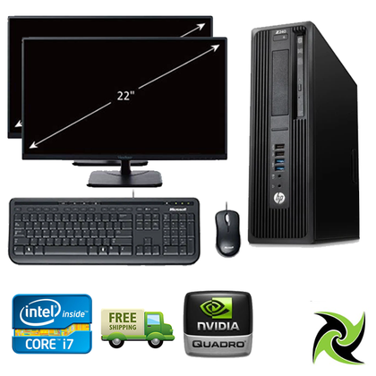 Power User Dual Combo!! HP Z240 SFF WorkStation- Ex Lease i7 6th gen 3.40GHZ 16GB RAM 1TB HDD+128GB SSD W10 Includes :  2 x 22inch monitors, NVIDIA Quadro K620, Keyboard and Mouse Desktop - PC Traders New Zealand