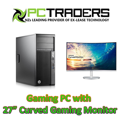 HP Z230 EX-LEASE GAMING TOWER With ASUS Geforce GTX 1650 Phoenix OC 4GB Graphics Card + 27