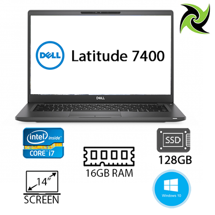 Dell Latitude 7400 Ex-Lease i7-8665U 1.90Ghz 16GB DDR4 RAM 128GB SSD 14