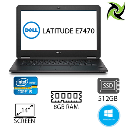 Dell Latitude E7470 Ex Lease Laptop i5-6300U 2.40GHz 8GB RAM 512GB SSD HD Graphics 520 14