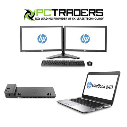 HP OFFICE COMBO!!! HP Elitebook 840 G3 i5 + HP ELITEDISPLAY E231 DUAL MONITOR + HP SLIM DOCKING STATION (all cables will provided) - PC Traders New Zealand