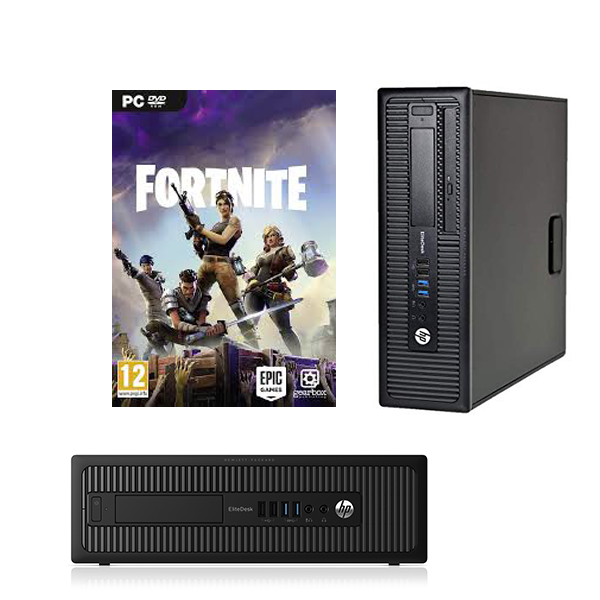 "Fortnite Ready Combo !! HP EliteDesk 800 G1 SFF Ex Lease Desktop i5-4590 3.30GHz 8GB RAM 1TB HDD Windows 10 pro with NVIDIA GT 710 2GB DDR5 + 23"" brand monitor + Wired Keyboard & Mouse"