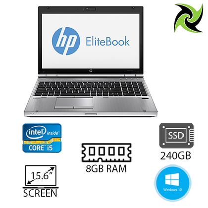 B grade - HP EliteBook 8560p Ex-Lease i5-2540M 2.60GHz 8GB RAM 240GB SSD DVD±RW 15.6
