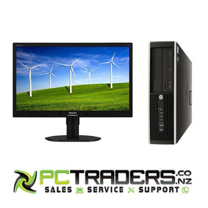 "HP Compaq 8000 Elite SFF Dual Core 3.0GHz, 4GB RAM, 160GB HDD, Windows 7 Pro + 22"" Brand Name Monitor - PC Traders New Zealand"