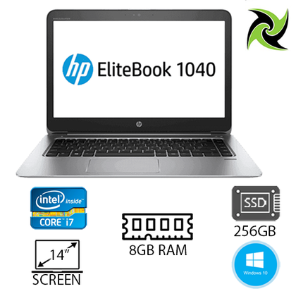 HP EliteBook Folio 1040 G1 Ex Lease Laptop intel i7-4600U 2.10GHz 8GB RAM 256GB SSD FHD Display 14