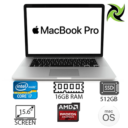 APPLE MACBOOK PRO 11,5 Ex-Lease i7-4870HQ 2.50Ghz 16GB RAM 512GB SSD Radeon HD 8870M/R9 M270X/M370X 15