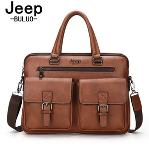 "Men Briefcase Bags JEEP BULUO High Quality Cow Split Leather Travel Handbag Shoulder Bags For 14"" Laptop iPad Business Bag 8001 - PC Traders New Zealand"