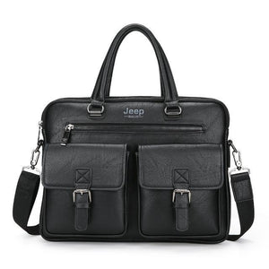 "Men Briefcase Bags JEEP BULUO High Quality Cow Split Leather Travel Handbag Shoulder Bags For 14"" Laptop iPad Business Bag 8001"